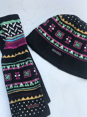 Girls Kenzo Wool Hat And Scarf Set, Black With Pattern