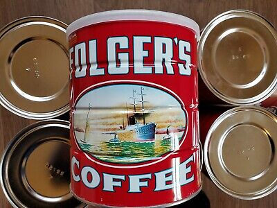 """Attic Find Vintage Rare Folger's Coffee Tin Can, 3 LBS, 7"""" Decorator Case of 8!"""