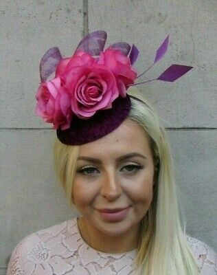 Cerise Hot Pink Plum Purple Flower Feather Pillbox Hat Fascinator Grape 7814
