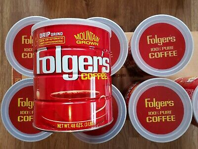 """Attic Find Vintage Folger's Coffee Tin Can, 3 LBS, 7"""" Drip Grind Case of 8! NICE"""