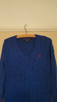 Polo Ralph Lauren Ladies Womens V Neck Cable Knit Sweater Jumper •Size L•