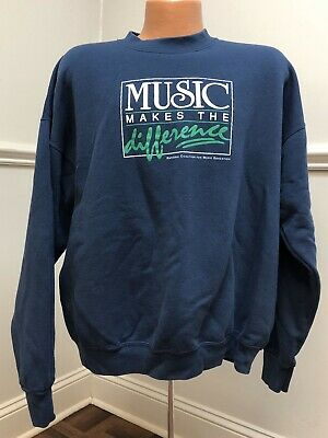 Vintage 1990s Sweatshirt MUSIC MAKES THE DIFFERENCE Education 90s XXL Shirt