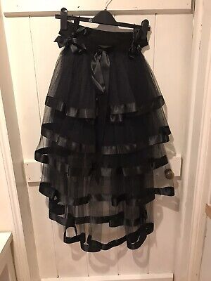Victorian Style Black Net Bustle With Satin Ribbon