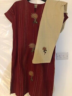 embroidered salwar kameez- Cotton With Crinkle Mix Tone Dupatta
