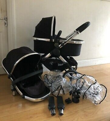 iCandy Peach 2 Black Single Pushchair Seat Carrycot Raincover Adapters