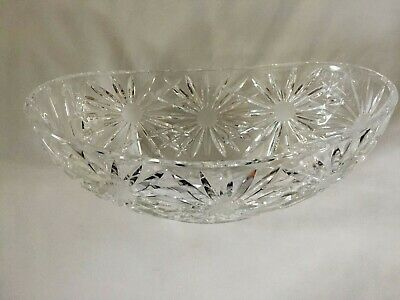Large Heavy Cut Oval Glass Fruit Bowl