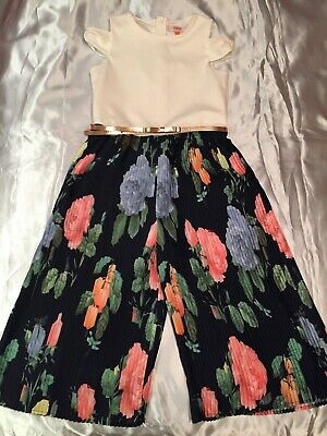 Girls Ted Baker Culotte Jumpsuit Age 10 Cream Navy Floral Pleated Trousers