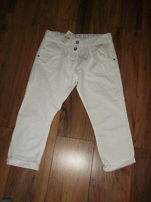 Next cropped trousers white age 14 years 32'' waist NEW RRP £16 100% cotton