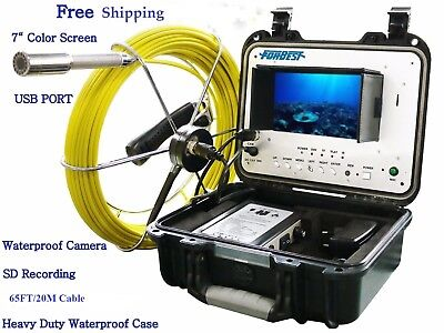 Sewer Drain Pipe Clean 1' Inspection Snake Color Video Camera 65FT Cable 7'' LCD