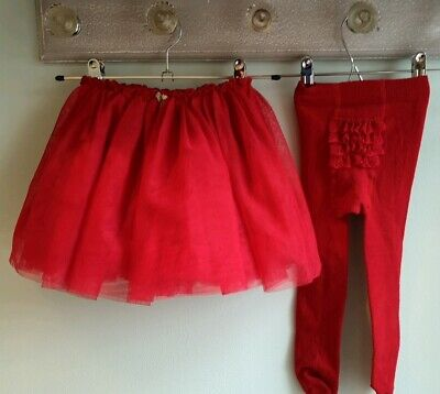 Baby Girls Pretty Christmas Red Tutu Skirt & Tights By Next Size 18-24 Months