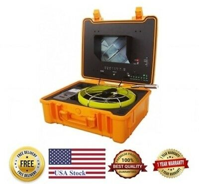 """Sewer Drain Pipe 10"""" Color LCD 1"""" Inspection Camera 130 Ft Cable 512Hz Sonde USB"""