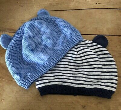 Two Next Cotton Hats Boy Toddler Baby New Blue Stripe Teddy Ears 1.5-2 Yr