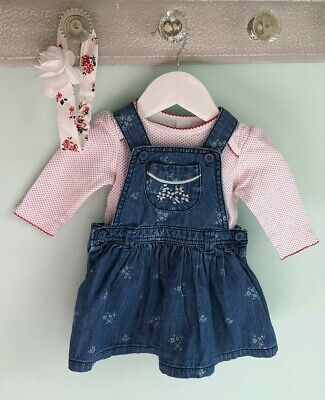Baby Girls Pretty Top, Pinafore Dress & Headband Outfit By Mini Club Size 3-6m