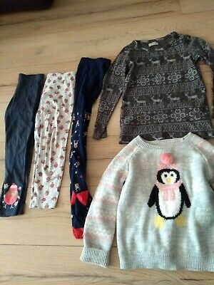 Bundle of Girls Christmas Clothing - Top, Jumper, Tights, Leggings 6-7 years