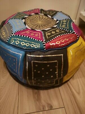 Moroccan pouffe Genuine Leather Footstool Multicoloured Samba poufe pouf New