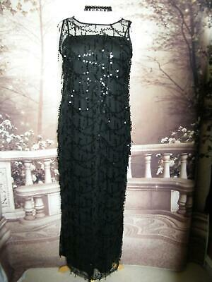 Phase Eight Size 14 Ballgown/Dress Collection 8 Black Sequin Fringe Gatsby 1920s