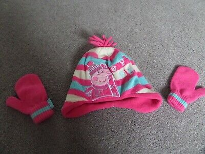 Peppa pig Knitted hat and mittens  - age 1-2yrs