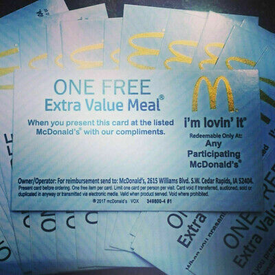 10x McDonald's Free Extra Value Meal Vouchers No Expiration - GOLD FOIL SYMBOL