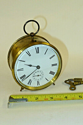 Antique Edwardian 8-day BELL ALARM mantel carriage clock cylinder escapement