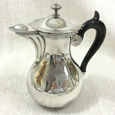French Art Deco Christofle Silver Plated Jug Lidded Pitcher Ebony Wood Handle
