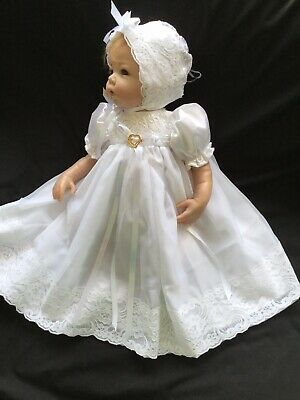 "Reborn Doll Dress Set. White/Lace Trim. 19-21""."