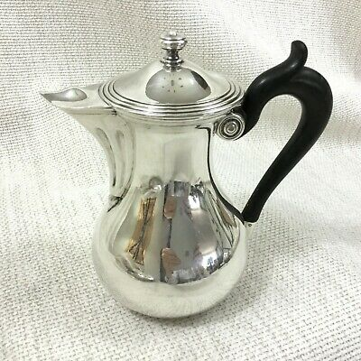 Antique Art Deco Christofle Silver Plated Jug Lidded Pitcher Ebony Wood Handle