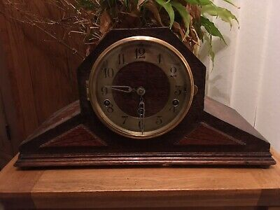 Vintage Art Deco 8 Day Mantel Clock Plays Westminster Whittington Chimes