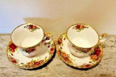 """2 - Royal Albert """"Old Country Roses"""" Montrose Style Teacups & Saucers"""