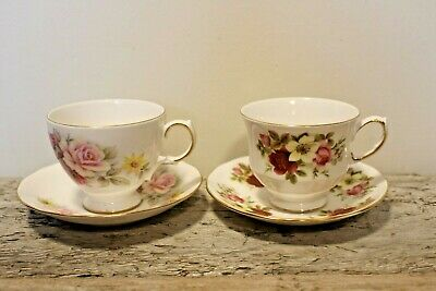 2 - Floral QUEEN ANNE TEACUPS & SAUCERS - Bone China - England