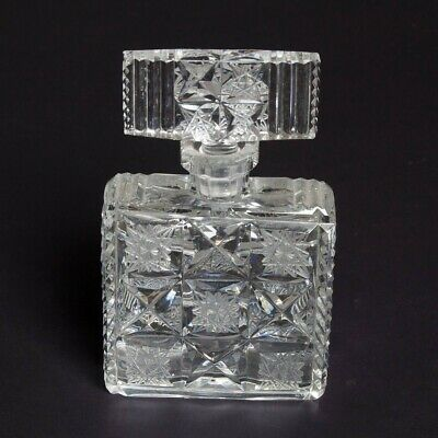 "VTG Czech Cut Glass Crystal Art Deco Square Bottle Decanter + Stopper 6.5"" Tall"