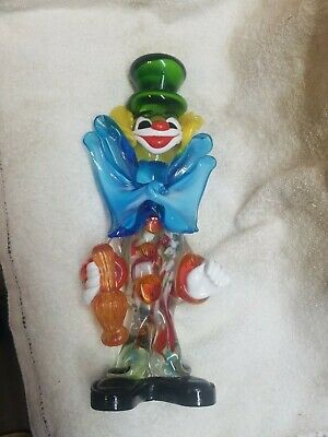 Vintage Murano Art Glass Clown Italy Venitian Italian Figure Figurine 9.5""