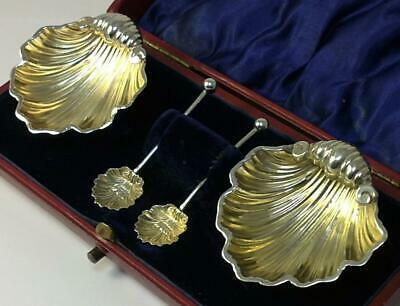 2 Victorian hallmarked Sterling Silver Shell Salt Dishes & Spoons in Case – 1897
