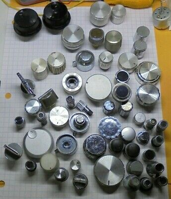 Lot of 56 knobs for vintage TV, Amplifiers , Receivers ....