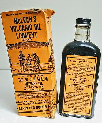 Antique McLean's Volcanic Oil Liniment Bottle w Box & Instruction Quack Medicine