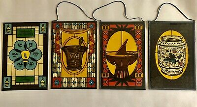 Pharmacy Stained Glass Set of Four
