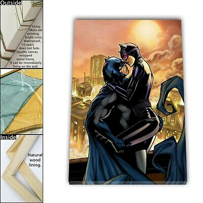 "16""x24"" Batman and Catwoman Kiss HD Canvas print Framed Home decor Room Wall art"