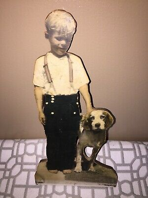VINTAGE 1930's BOY WITH DOG PICTURE MOUNTED ON WOOD WITH MOURNING NOTE ON BACK