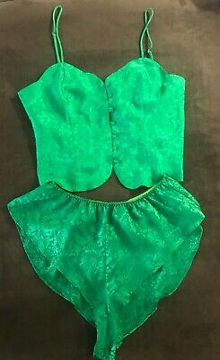 Victorias Secret VTG 90s Gold Label High Waisted Shorts Top Set Green Size M