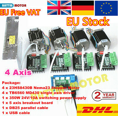 4 Axis Nema23 CNC Kit Stepper Motor Dual Shaft L76mm 270Oz +TB6560 Driver『In EU』