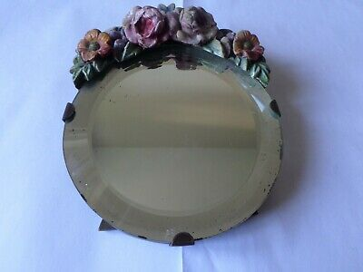 Vintage circa 1930s  floral Barbola dressing table mirror eisel stand