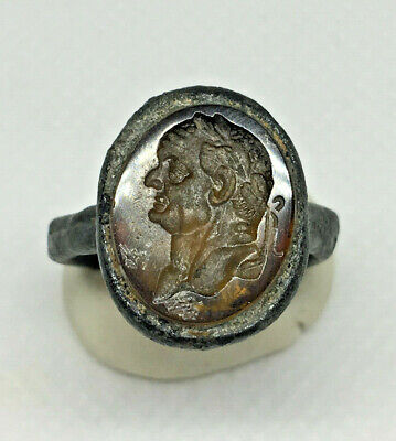 Roman Ancient Silver Plated With Agate Emperor  Ring- Ar0009