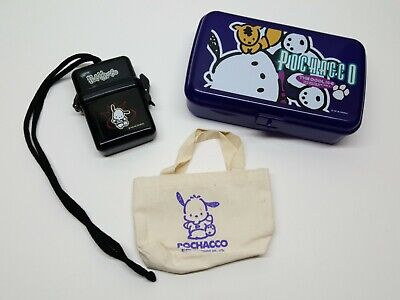 VTG Sanrio 1995 1996 Pochacco Lot of 3 Stationary Case Small Case Mini Tote Bag