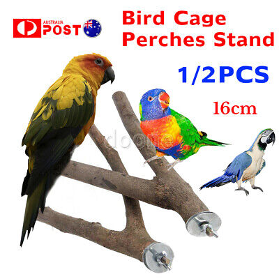 1/2PCS  Wooden Parrot Bird Cage Perches Stand Tree Branch Pet Budgie Hanging Toy