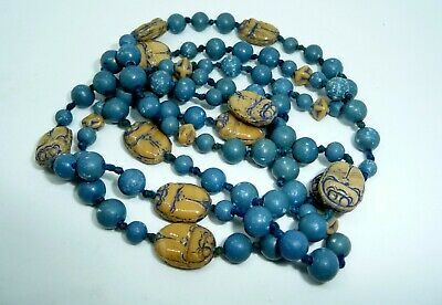 Vintage Art Deco Neiger Bros Egyptian Revival Blue Knotted Scarab Bead Necklace