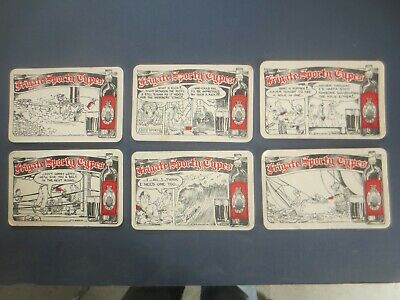 """complete set of 6 FRIGATE Australian 1980,s Issue RUM coasters """"Sporty Types"""""""