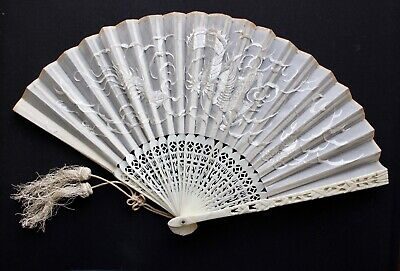 Chinese Silk and Brise Fan, 19th Century, with Lacquer Box