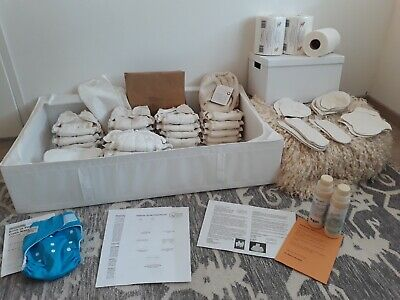 Reuseable nappies complete set from 0-1 year organic (mix new + used)