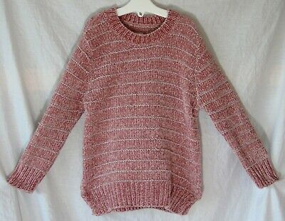 Girls Matalan Pink Sparkly Silver Soft Chenille Warm Comfy Jumper Age 6 Years