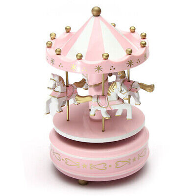 Musical carousel horse wooden carousel music box toy child baby pink game Z4T1