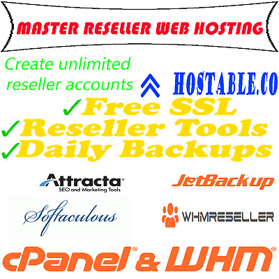 MASTER RESELL HOSTING CPANEL/WHM-create Unlimited accounts! Instant After Pay!